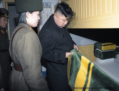 kim jong un looking at blanket