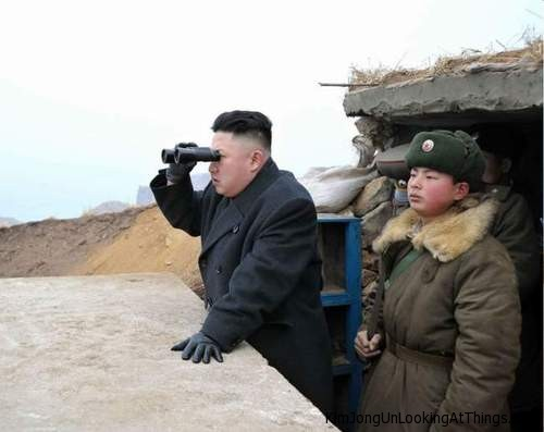 kim jong un looking at south korea