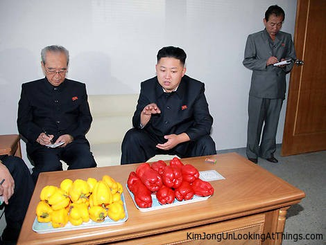 kim jong un looking at peppers