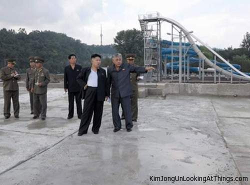 kim jong un looking at water slides