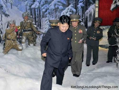 kim jong un looking at snow