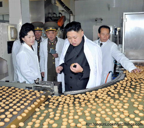 kim jong un looking at cookies