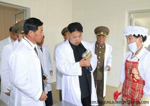 kim jong un looking at food package
