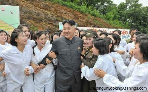 kim jong un looking at girls