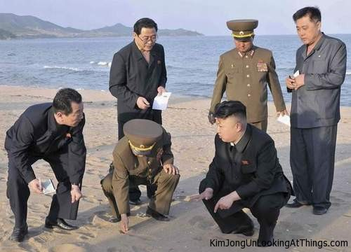 kim jong un looking at sand