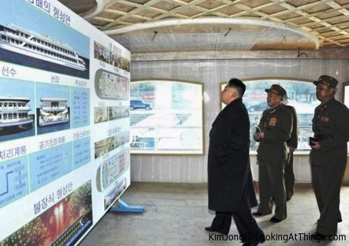 kim jong un looking at ship plans